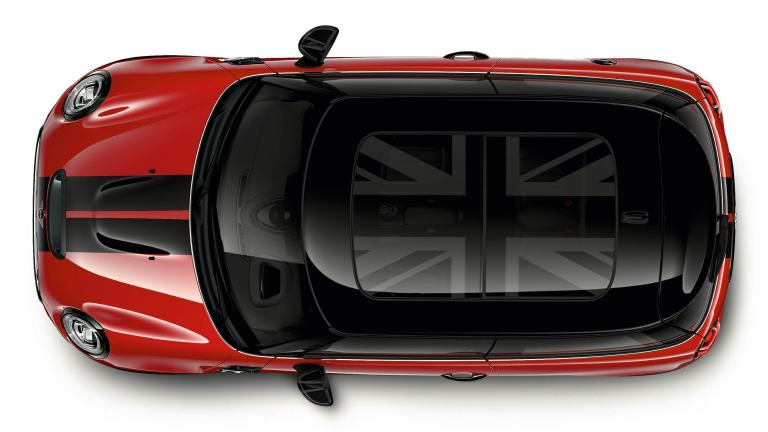 MINI glass roof – Union Jack graphic design – view from above